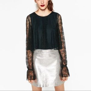 NWOT Zara Collection Emerald Lace Bell Sleeve